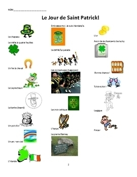 Le Jour de St.Patrick! French St.Patrick's Day Vocabulary & Activities