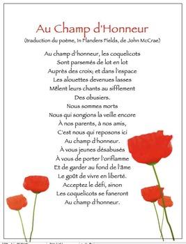 Le Jour du Souvenir / Remembrance Day / trad. de Flanders Fields (French)