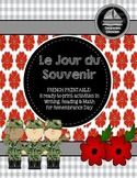 Le Jour du Souvenir (Remembrance Day) - French Immersion Printable