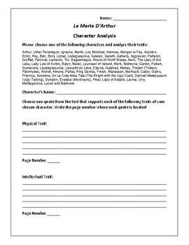 Le Morte D'Arthur - Character Analysis Activity - Thomas Malory
