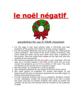 Le Noël négatif FRENCH NEGATIVES
