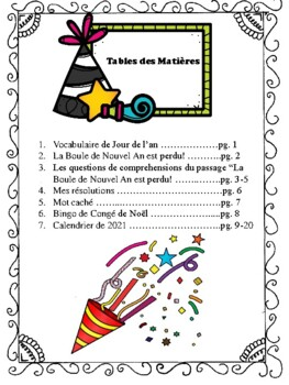Le Nouvel An - French Activities for the New Year