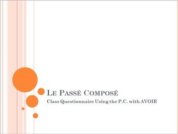 Le Passé Composé : Partner Speaking Activity (using AVOIR)