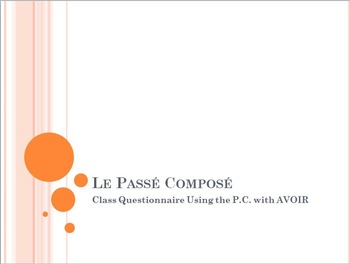 Le Passé Composé : Partner Speaking Activity (using AVOIR)
