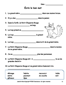 French Play - Le Petit Chaperon Rouge for fun French activity