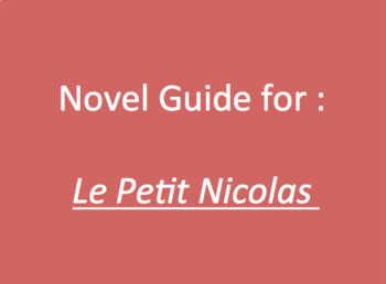 Le Petit Nicolas : guide for chapter 1