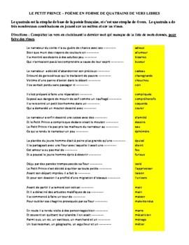 Le Petit Prince - Exercice de poésie