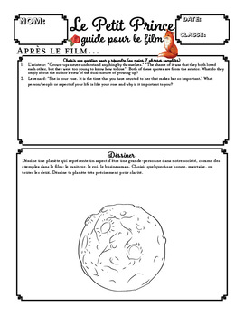 Le Petit Prince Movie Guide and Activities for the Little Prince