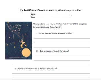 Film - Le Petit Prince (2015) - Questions de compréhension