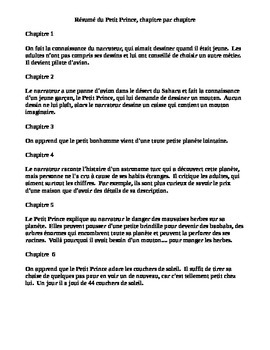 le petit prince chapter by chapter summary résumé cloze text quiz