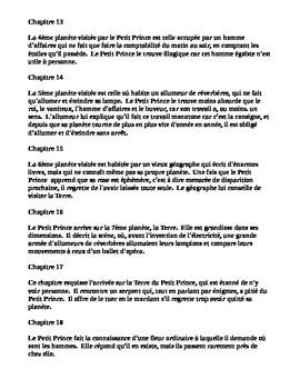 Le Petit Prince - Chapter by Chapter Summary, Résumé & Cloze Text Quiz