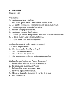 Le Petit Prince Chapters 1-3 Worksheet
