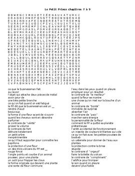 Le Petit Prince chapters 7-9 wordsearch