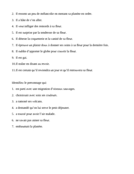 Le Petit Prince chapters 8-9 worksheet