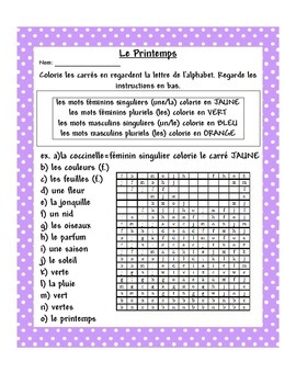 Le Printemps French Worksheet - Indefinite and Definite Articles