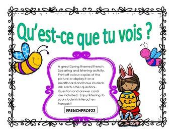 Le Printemps Pâques Qu'est-ce que tu vois? French Speaking and Listening
