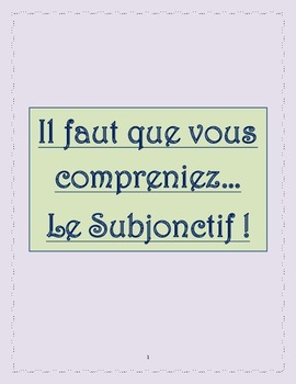 Le Subjonctif: An easy guide to the subjunctive tense in French