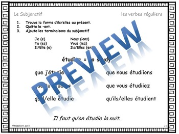French Subjunctive Interactive Notebook