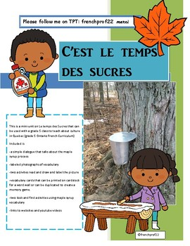 Le Temps Des Sucres Maple syrup in Quebec french grade 5 culture