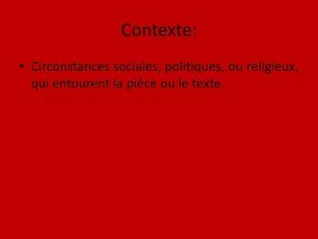 Le Theatre Francais: Notes de Vocabulaire