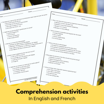 Le Tour de France - reading activity for intermediate/advanced French learners