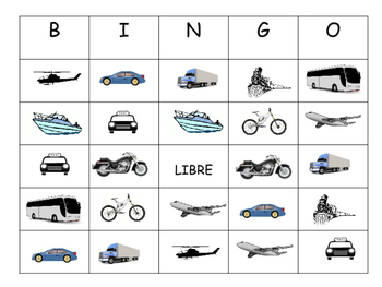 Le Transport Bingo – Transportation Vocabulary in French