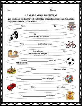 Le Verbe Venir Au Present French Verb Venir Worksheets Tpt