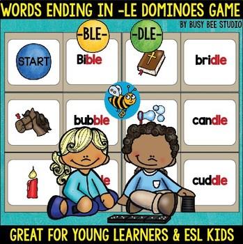 Le Word Endings (-ble, -dle) Dominoes Game