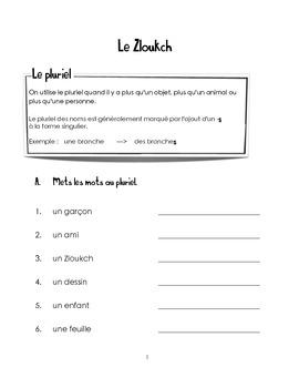 Le Zloukch - Les parties du corps
