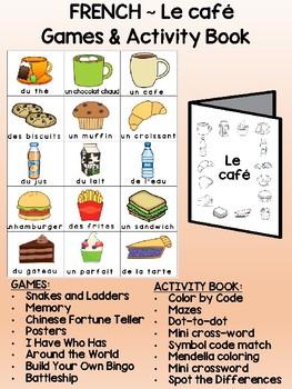 Le café -  FRENCH Games & Mini activity book Combo