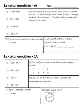 Le calcul quotidien –Daily Math Spiral Review in FRENCH Gr.5 (Month A-September)