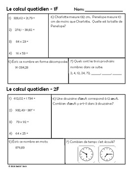 Le calcul quotidien – Daily Math Spiral Review in FRENCH Gr5 (Month F-February)