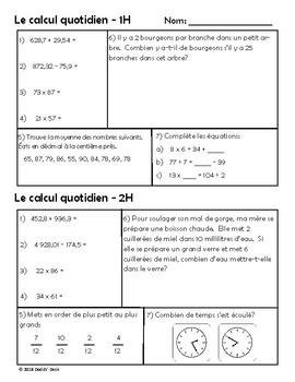 Le calcul quotidien – Daily Math Spiral Review in FRENCH Gr5 (Month H-April)