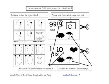 Le calendrier , l'écriture des numéros et des lettres M-1-2 Immersion F 33