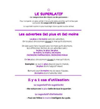 Le comparatif + Le superlatif