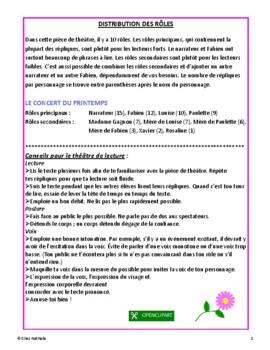Le concert du printemps (French Reader's Theatre)
