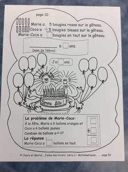 Le corps de Marie-Coco- FRENCH Student Workbook on Addition- Grade 1 and 2