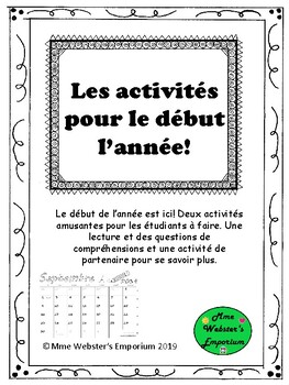 Le debut de l'annee - French activities for the start of the year!