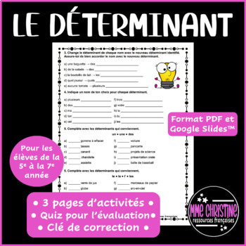 Le Determinant Exercices Portant Sur Les Determinants Avec Quiz