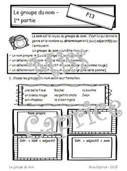 Le groupe du nom - Cahier imprimable - 3e année