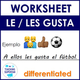 Spanish Sports (Deportes) Le gusta Worksheet with Emojis