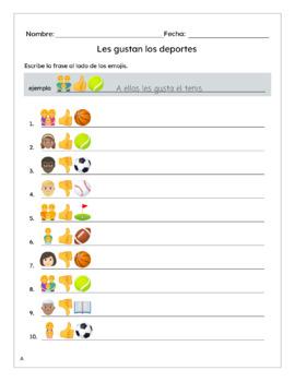 Spanish Sports (Deportes) Le gusta Worksheet with Emojis