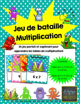 Le jeu de bataille des monstres – Multiplications – Jeu de cartes