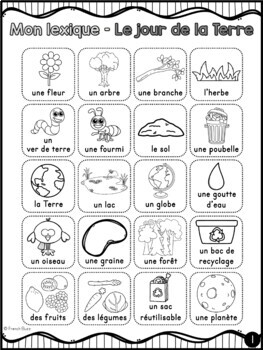 Jour de la Terre - Vocabulaire et lexique - French Earth Day