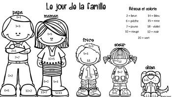 Le jour de la famille - Résous et colorie (Addition)