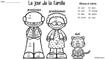 Le jour de la famille - Résous et colorie (Addition à deux chiffres)