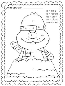Le jour de la marmotte - Primary French Colour by Number/Sight Words