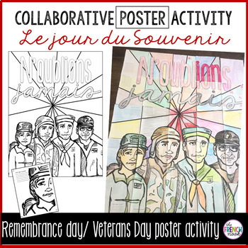 Le jour du Souvenir Remembrance Day Veterans Day French collaborative poster