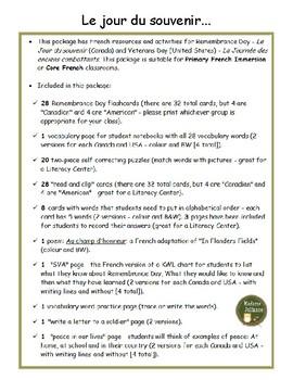 Le jour du souvenir - BUNDLE (French Remembrance Day)