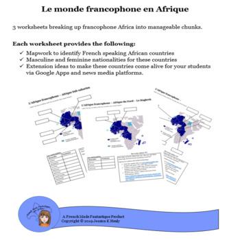 Monde Francophone Worksheets Teaching Resources Tpt